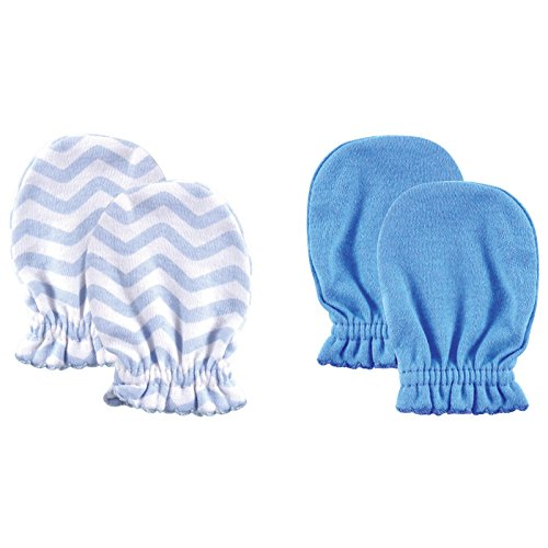 Luvable Friends Basic Scratch Mittens 2-Pack (0 - 6 Months, Blue Chevron)
