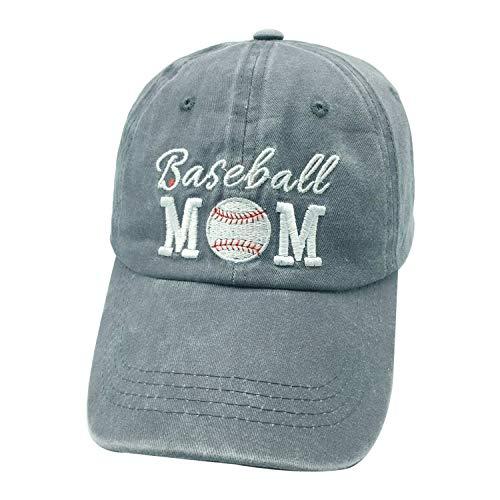 (Waldeal Embroidered Baseball Mom Vintage Jeans Adjustable Ballcap Washed Denim Dad Hat Gift for Mom/Grandma Grey)