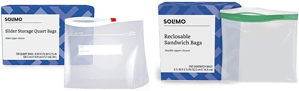 Amazon Brand - Solimo Slider Quart Food Storage Bags, 120 Count & Sandwich Storage Bags, 300 Count