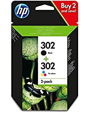 HP X4D37AE 302 Original Ink Cartridges, Black and Tri-color, Pack of 2