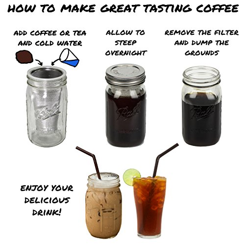 County Line Kitchen – Cold Brew Mason Jar Coffee Maker, Durable Glass, Heavy Duty Stainless Steel Filter – 1 Quart, 32…