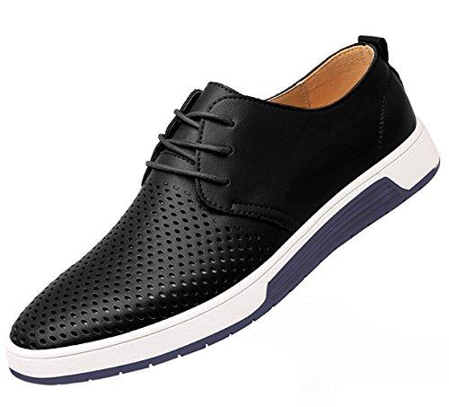 SANTIMON Men's Casual Oxford Shoes Breathable Leather Flat Fashion Sneakers Sandals Black 11 D(M) US