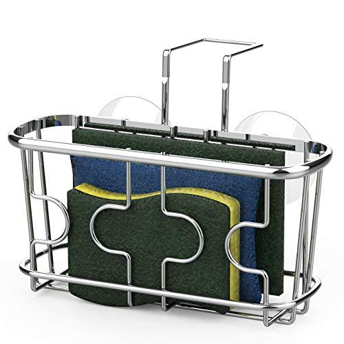 SimpleHouseware Kitchen Sink Caddy Organizer for Brush Sponge Holder, Chrome