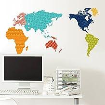 BIBITIME World Map Wall Sticker: Dark blue flowers America,Honeycomb South America,Wave stripes Europe, Geometric Africa,Polka Dot Asia, Checkered Australia Art Stickers Home Decor ,51.18 * 27.17 IN