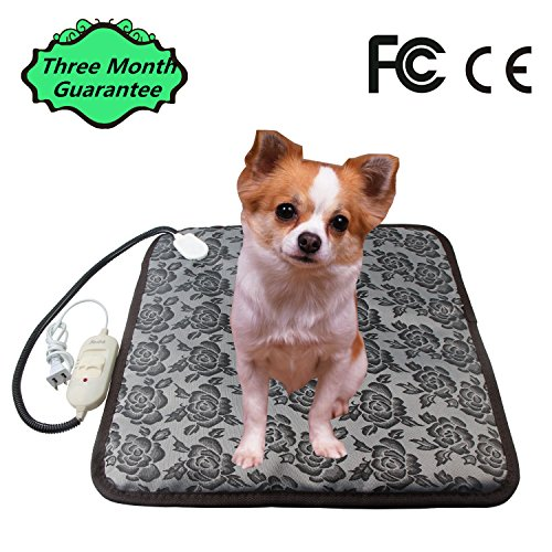 COVOART Waterproof Pet Heating Pad,Electric Adjustable Warming Dog Cat Heating Mat with Chew Resistant Steel Cord and Power-Off Protection 17.7x17.7