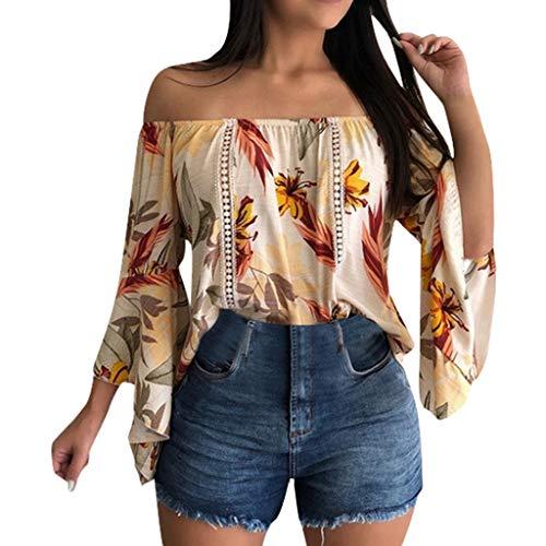 QueenBBWomens Elegant Boho Off Shoulder Tops Bell Sleeve Shirt Floral Print Summer Tee Blouse Tops White