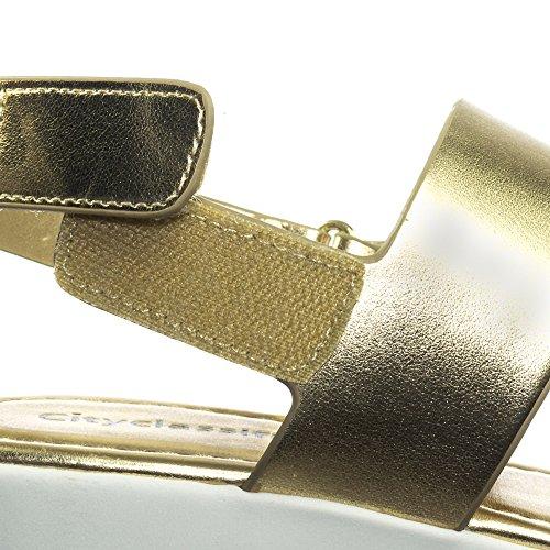 Geclassificeerde Flatform Klittenbandsandaal Met Dik Platform En Gouden Slingering