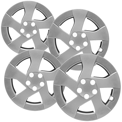 OxGord 15 inch Hubcaps Best for - Toyota Prius - (Set of 4) Wheel Covers 15in Hub Caps Silver Rim Cover - Car Accessories for 15 inch Wheels - Snap On Hubcap, Auto Tire Replacement Exterior Cap