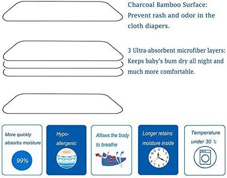 5 Couches Doublures pour Couches Lavables /à Absorption /éLev/éE pour B/éB/éS et Tout-Petits. TTBD Paquet de 12 Inserts de Couches Lavables en Tissu de Bambou Doux et R/éUtilisables