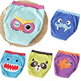 Max shape 5 Pack Baby Boys Girls Training Pants Toddler Potty Training Underwear Cloth Diaper Cotton Nappy Underwear (5 Pack, 2T)