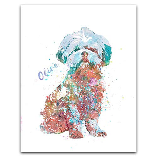 Personalized Gift for Dogs and Dog Lovers! Watercolor Style. (11x14 Wood Block Mount, Shih Tzu)