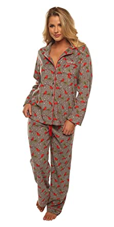 Velvet Kitten Pajama Sleepwear Set Cardinal Holiday Women s Fleece ... 1ea9a1393