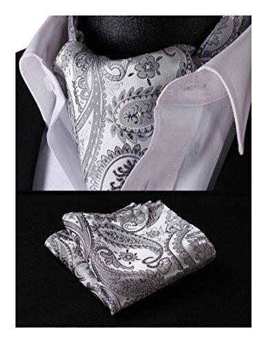 (HISDERN Men's Ascot Paisley Floral Jacquard Woven Gift Cravat Tie and Pocket Square Set)