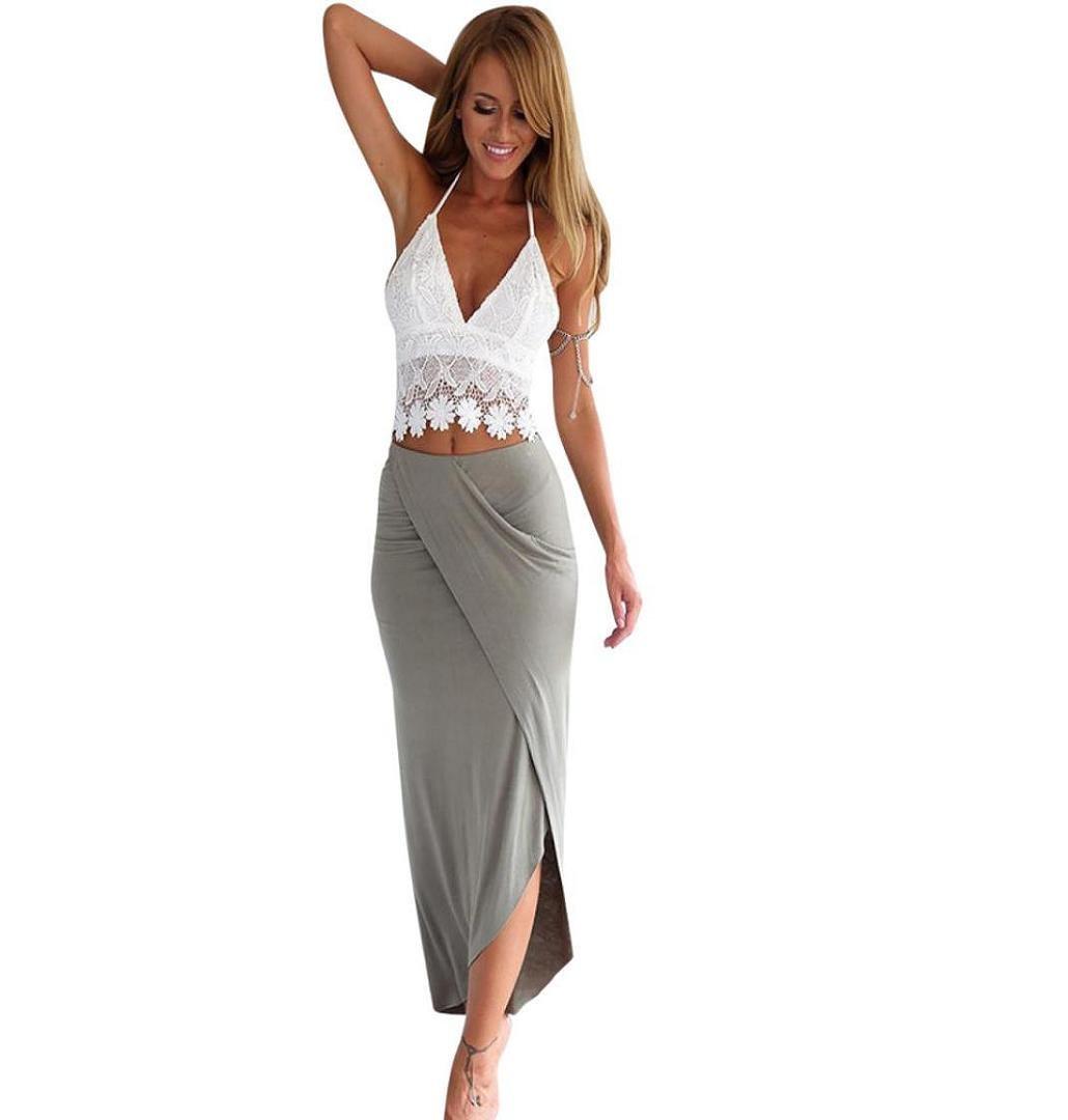ZEZKT Frauen Clubwear Blues und Rock Sommer Cocktailkleid Ärmelloses Spitze Oberteil + Lang Rock Asymmetrisch Kleid Strandkleid Abendkleid Beiläufiges Kurzes Lässig Casual Crop Top