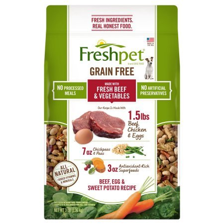 Freshpet Fresh Baked Grain Free Beef, Egg & Sweet Potato Recipe Dog Food, 3 Lb