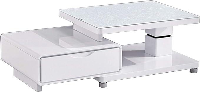 Mesa baja extensible lacada, color blanco: Amazon.es: Iluminación