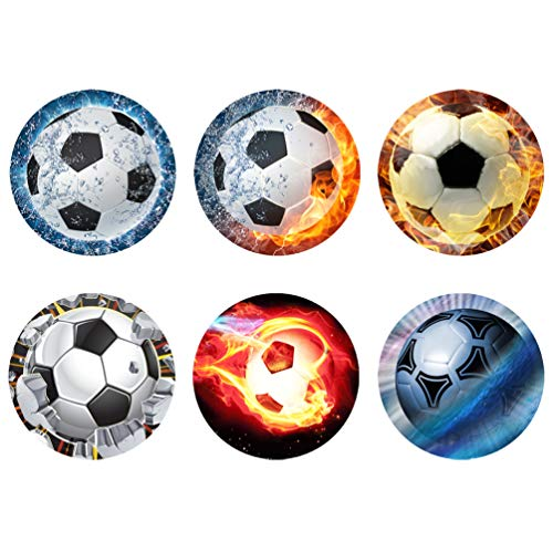 HUGS IDEA Absorbent Rubber Fire Ball Coasters for Drinks Non Skid Sport Theme Cup Mats for Kitchen/Living -