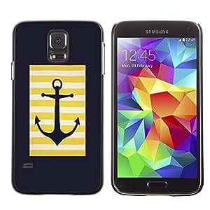 FECELL CITY // Duro Aluminio Pegatina PC Caso decorativo Funda Carcasa de Protección para Samsung Galaxy S5 SM-G900 // Sailor Anchor Minimalist Black