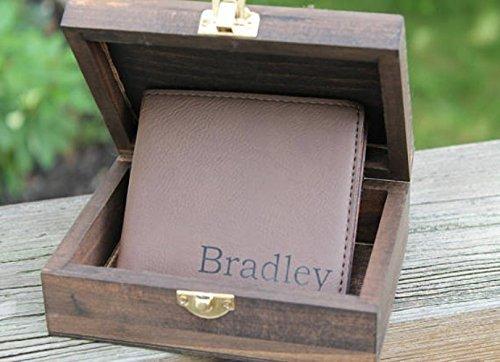 Wood Gift Box Set, Brown Leather Wallet & Gift Box, Rustic Wedding Gift, Small Gift Box. Groomsmen Gift