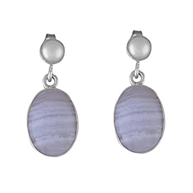 f69584a43 Image Unavailable. Image not available for. Color: Blue Lace Agate and  Pearl Drop Earrings