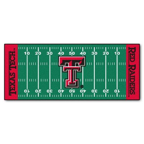 FANMATS NCAA Texas Tech University Red Raiders Nylon Face Football Field Runner (Raiders Mat Tech Football Red)