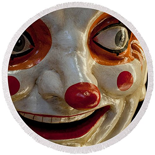 Pixels Round Beach Towel With Tassels featuring ''Close-up Of A Clown At A Shop, El'' by Pixels by Pixels