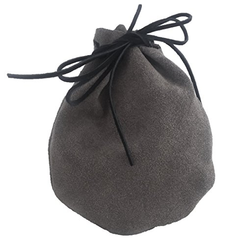 Pouch Drawstring Heavy Suede Leather 5.5 X 5.5 Inches, Grey