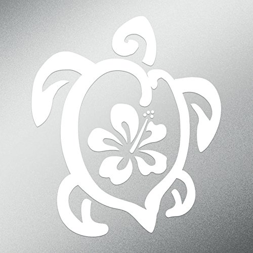 CMI DD537 Hibiscus Turtle Decal Sticker | 5.5-Inches by 4.7-Inches | Premium Quality White Vinyl