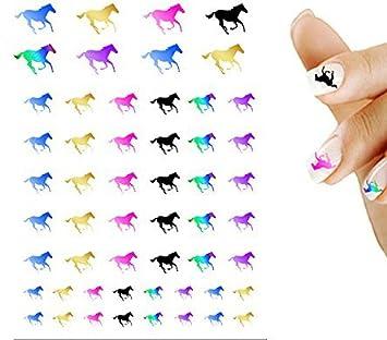 Amazon Running Horse Rainbow Blue Pink Mix Nail Art Decal