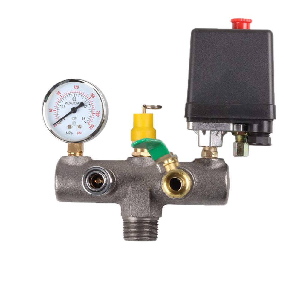 Common Switch SM SunniMix Air Compressor Pressure Control Switch Valve Manifold Regulator w//Gauges Relief