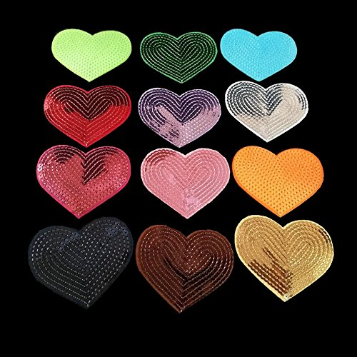 12 Pcs Flickering Bead Piece Love Heart Embroidered Patch Iron on Sewing Sequins Applique For Jeans Clothing Decorations (Applique Sequin Heart)