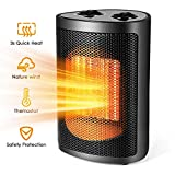 Space Heater, Portable Heater Personal Heater Fan Electric Small Ceramic Heater for Office Bedroom Desk Home indoor Use, Black