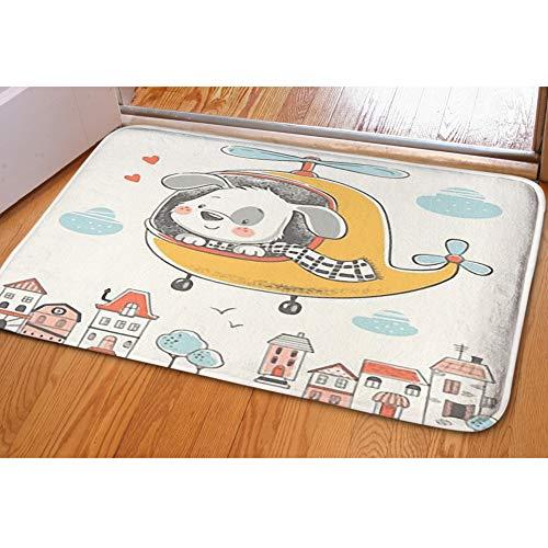Door Mat Indoor Area Rugs Living Room Carpets Home Decor Rug Bedroom Floor Mats,Cute Puppy on Helicopter ()