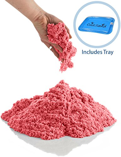 CoolSand Red 5 Pound Refill Pack - Including: 5 Pounds Moldable Indoor Play Sand, Storage Bucket & Inflatable Sandbox