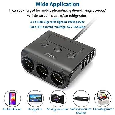 Car Adapter for Cigarette Lighter, MANLJ 100W 12V/24V 3-Socket Car Splitter Charger 4 USB Ports, Car Adapter for GPS, Dash Cam, Car Vacuum Cleaner, iPhone, iPad, Samsung: Automotive