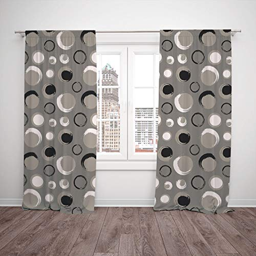 2 Panel Set Window Drapes Kitchen Curtains,Taupe Grunge Circles Dots Brushstrokes Hand Painted Modern Design Messy Artistical Black White Taupe,for Bedroom Living Room Dorm Kitchen Cafe (Circle Dot Valance)