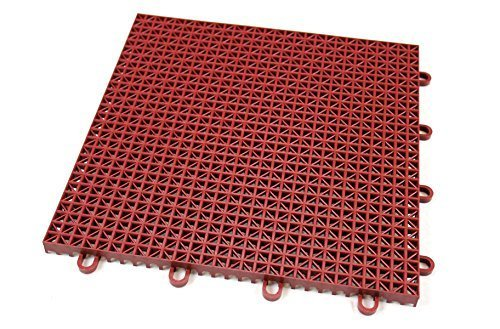 IncStores Outdoor Patio Interlocking Rugged Grip-Loc Tiles - 9 Pack - Brick Red (Outdoor Patio Brick Flooring)