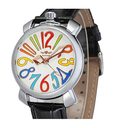 Dial Silver Mechanical (Unisex Big Colorfully Number White Dial Automatic Mechanical Watch Silver Stainless Steel Black Leather (White))