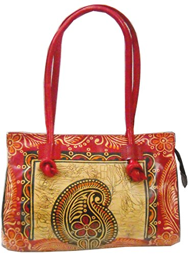 Paisley Batik Design 100% Pure leather Handmade Shantiniketan Shoulder Bag
