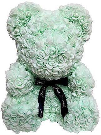 Creative Forever Fleur Ours Cadeau pour St.Valentin Anniversaire Mariage Anniversaires Delisouls Artificiel Rose Nounours Ours 25cm Mousse Rose Romantique Ours Rouge