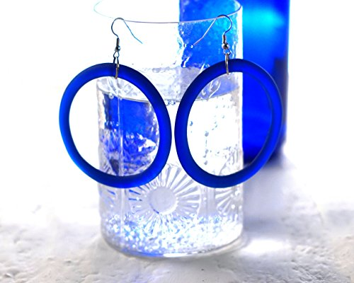Cobalt Blue Glass Hoop Earrings - Recycled Saratoga Spring Water Bottle