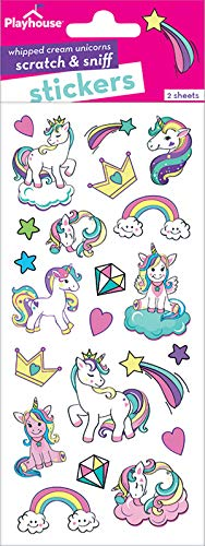 Scratch Sniff Sticker Sheet - Playhouse Rainbow Unicorns Whipped Cream Scented Scratch & Sniff Sticker Sheets