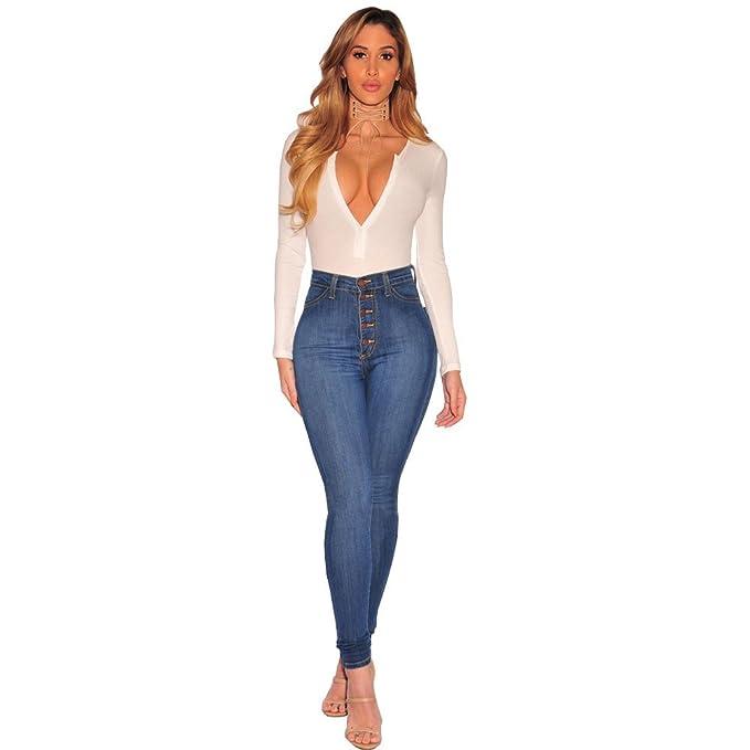 Amazon.com: Wadys Fashion - Pantalones vaqueros de cintura ...