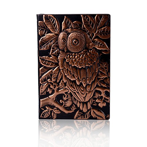 (Fronnor Thick Vintage Notebooks Classic Style Daily Memos Carving Owl Notebook Travel Note (Red)
