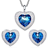 "SILYHEART ""Heart of the Ocean"" Fashion Love Pendant Necklace Earrings Women Jewelry Set with Swarovski Crystal"
