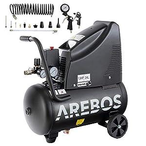 Arebos Compresor de aire sin aceite | 1100 W | 24 L | 8 bar | Incluye juego de herramientas de aire comprimido de 13…