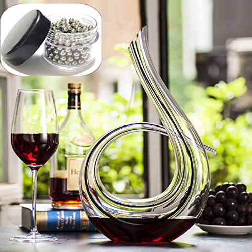 Sucastle Wine Decanter,Towinle Red Wine Carafe Leadfree Crystal Glass Wine Aerator Wine Presents, Wine Accessories (1200 Milliliter)