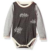 Burt's Bees Baby Baby Boys Long Sleeve One Piece Bodysuit, 100% Organic Cotton, Snowy Trees, 3-6 Months