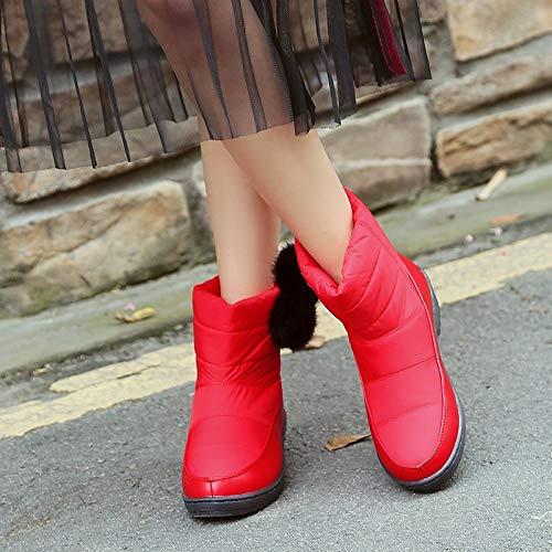 Nieve Mujeres Tela Pu Impermeable Tobillo Zapatos Cuero Pingxiannv Calientes Bota 6xzOwPwS