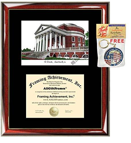 University of Virginia UVA Diploma Frame Lithograph - Premium Wood Glossy Prestige Mahogany with Gold Accents - Single Black Mat - University Diploma Frame